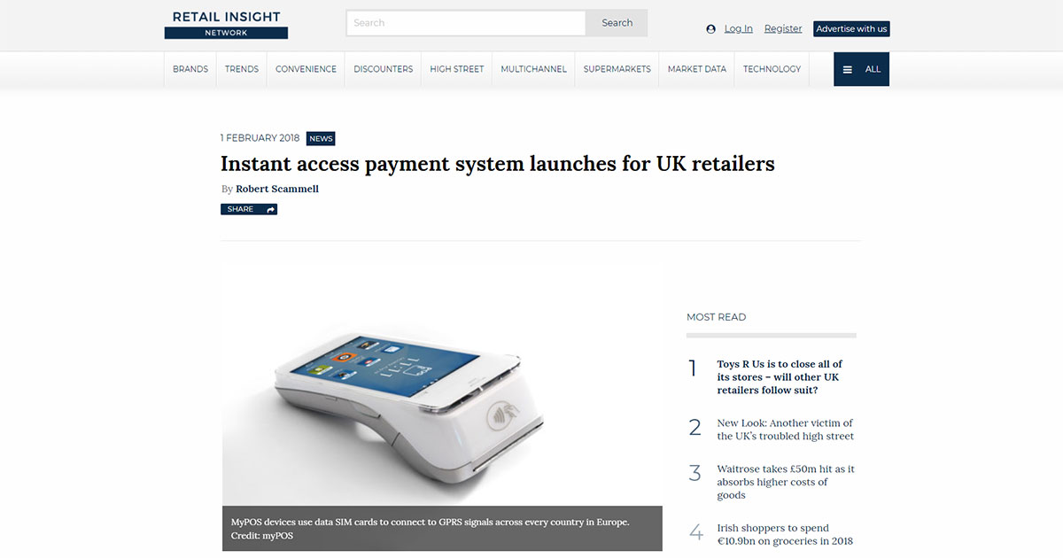Instant access payment system launches for UK retailers