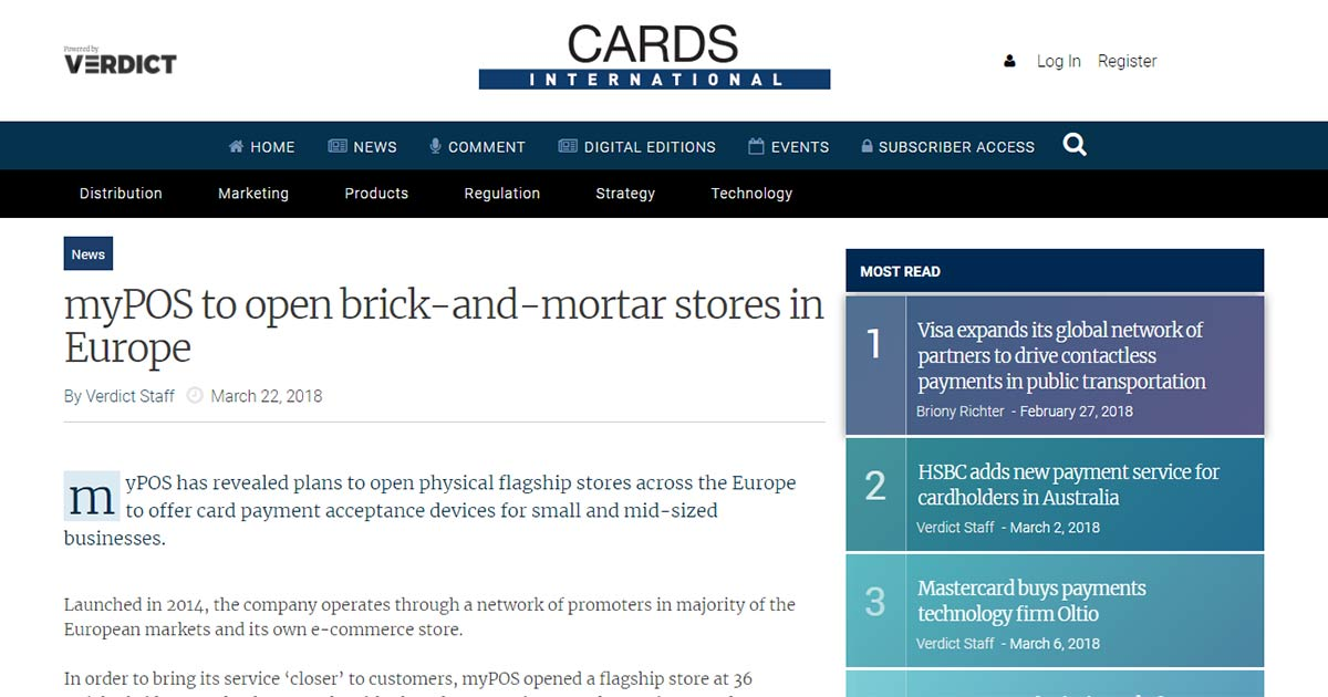myPOS to open brick-and-mortar stores in Europe