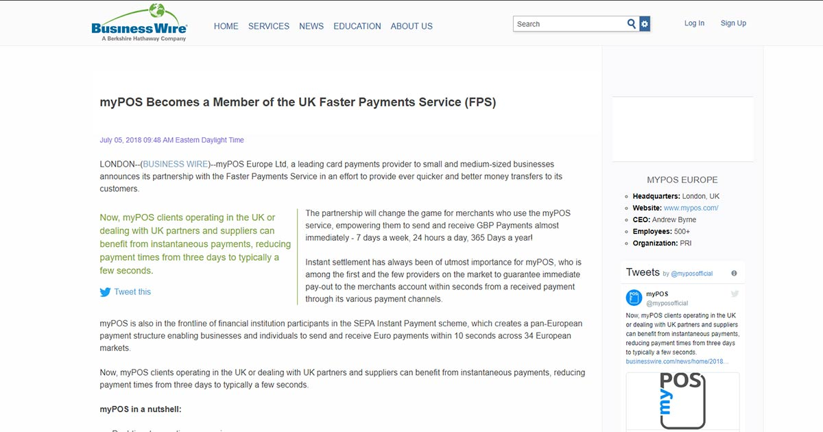 myPOS Becomes a Member of the UK Faster Payments Service (FPS)