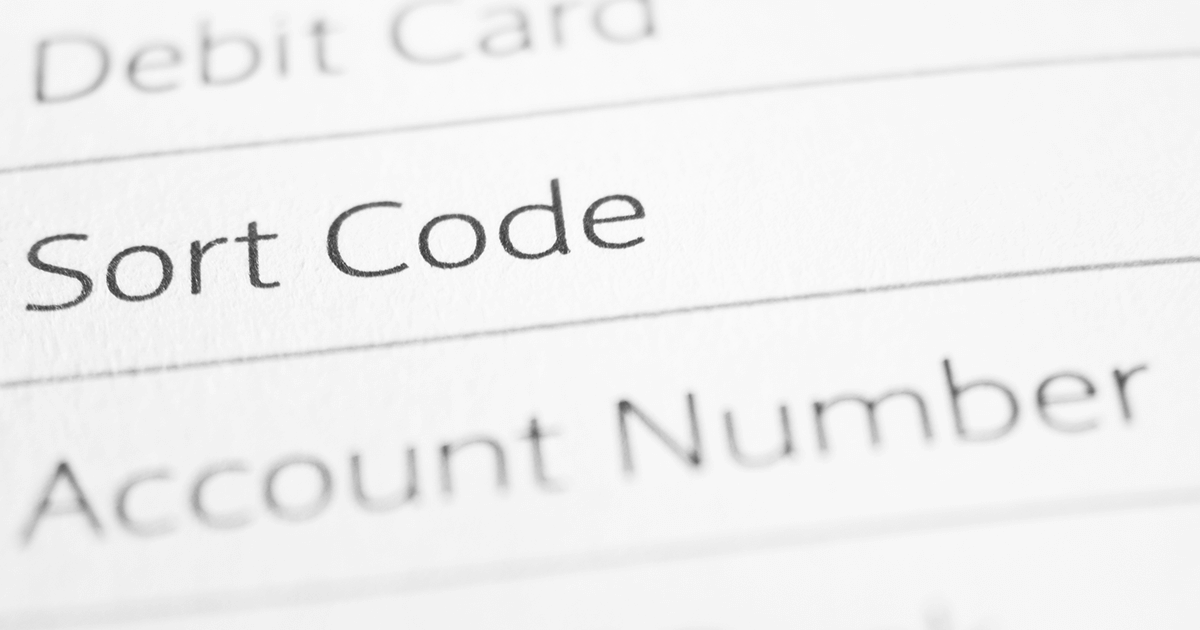 A sort code in a list