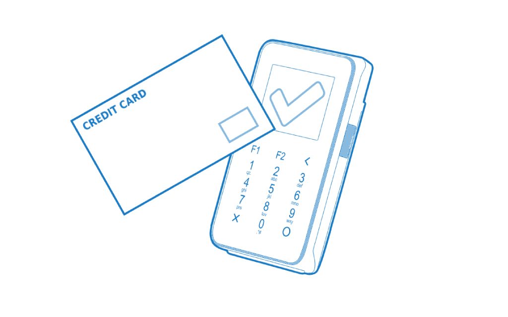 A vector showing how a card reader works